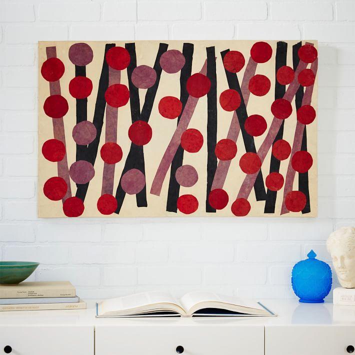 Papier Mache Wall Art - Red Circles + Black Lines