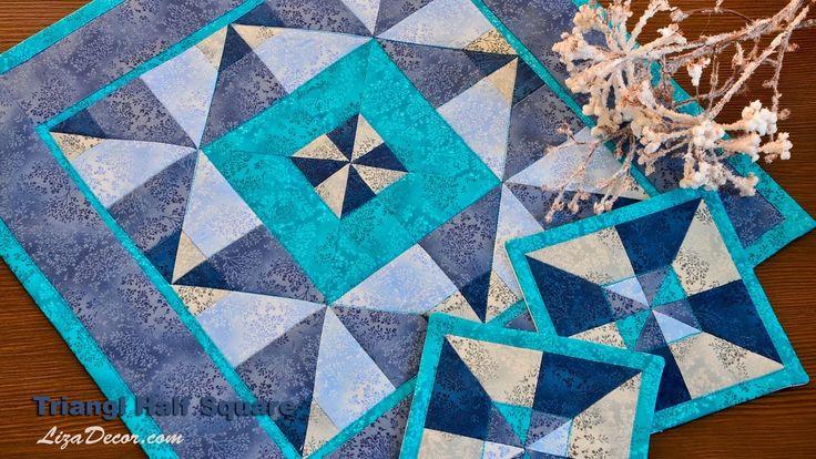 Patchwork Triangl Half Square #triangl #halfsquare #lizadecor #patchwork #pravoúhlý #trojúhelník #vzory #tutorial #video #šablona #pravítko