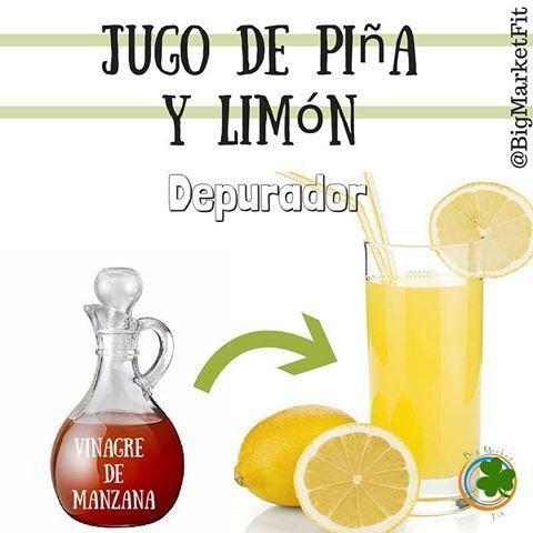 Para ese colesterol un poco alto y porque no, esos kilitos de mas un delicioso jugo de piña y limón con Vinagre de Manzana, el cual muestra entre sus propiedades la de desintoxicar y depurar el organismo. Que se necesita? 1 cucharada de VINAGRE DE MANZANA 1 Vaso de agua 2 rodajas de piña 1/2 Unidad de limón (zumo)  ¿Cómo de hace? Licuar, servir y disfrutar *Debe ser tomado de 3 a 4 veces por semana no más.