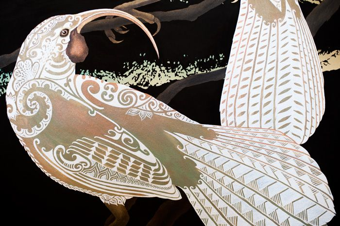 aroha-mai-aroha-atu-huia-birds-maori-painting-queenstown-remarkable-mountains-sofia-minson-new-zealand-artwork-design
