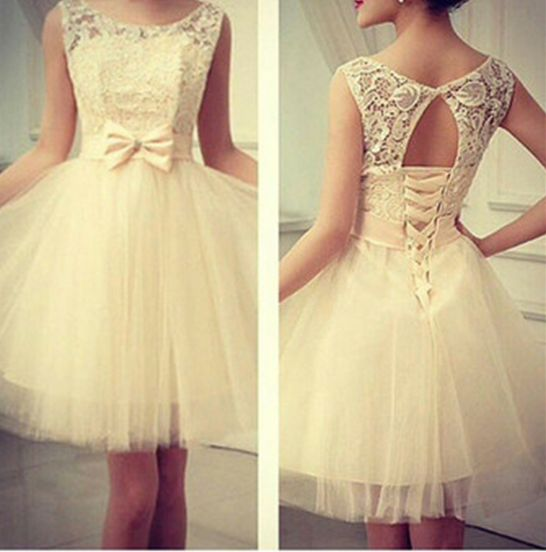 Cute Sleeveless Lace Bow Dress VC04