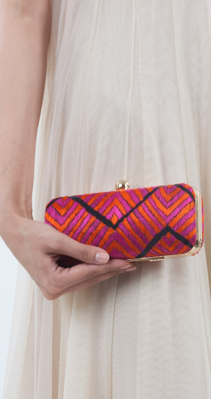 Chevron Rectangle clutch by UMEED. Shop at UMEED