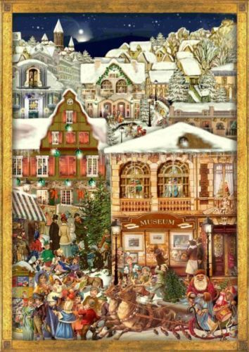 Victorian Christmas Village German Advent Calendar Made in Germany Countdown