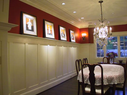 Lit crown molding ideas as plate rail wainscot to for Dining room molding ideas