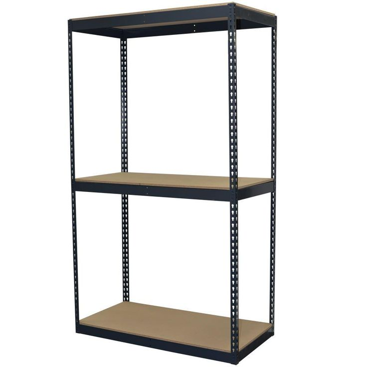 72 in. H x 48 in. W x 24 in. D 3-Shelf Steel Boltless Shelving Unit with Double Rivet Shelves and Laminate Board Decking, Powder Coated Steel Color Gray