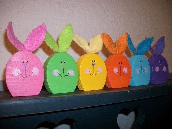 6 Colorful Wood Bunny Rabbits Set of 6 Easter Spring