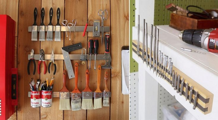 Magnetic strips will keep your metal tools and tool accessories easily accessible.