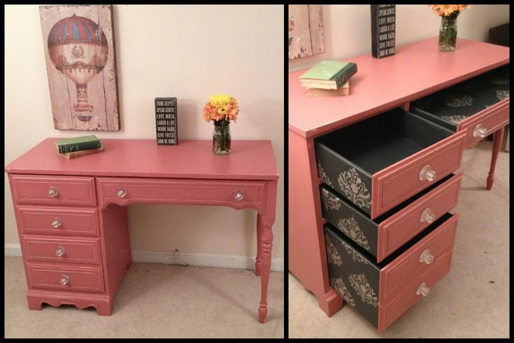 Shabby chic pink desk, French provincial desk, black and silver stenciled drawers by Furniture Alchemy Chalk painted desk, painted desk ideas