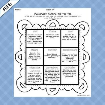 Students have 9 choices for reflection after completing independent reading including plot and char...