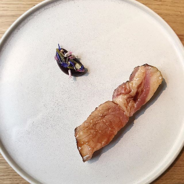 Pork rack roasted in the fireplace, black garlic, blackcurrant and salted flower buds