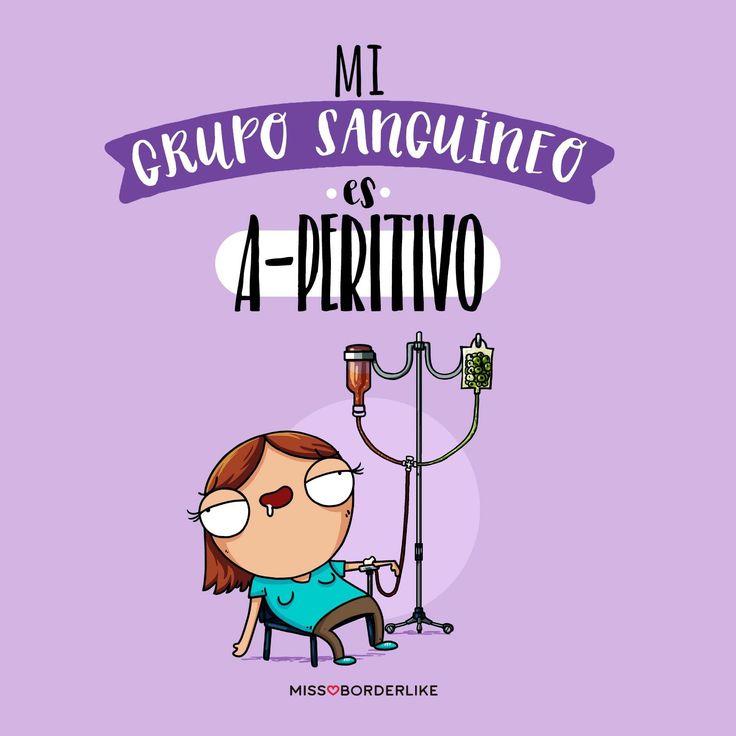 Mi grupo sanguíneo es A-peritivo. #frases #graciosas #divertidas #humor #chistes #memes #imagenes