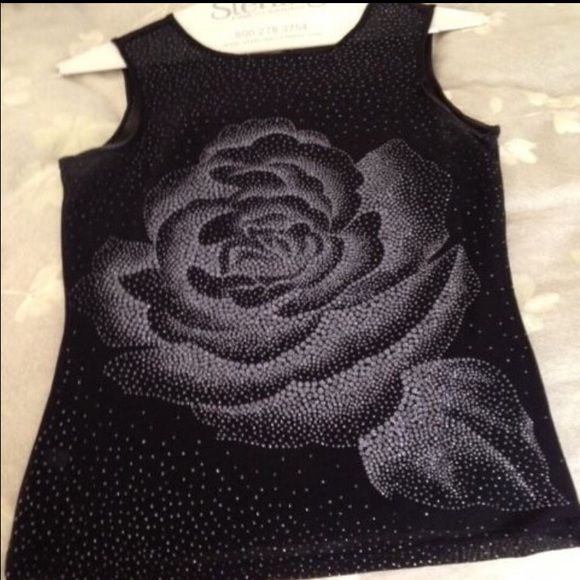 Black sheer top with glittery rose Black sheer sleeveless top with glitter rose. Wear with a cami underneath. Good for dress-up and/or with jeans,   Has been worn a few times, is in very good condition. Express Tops