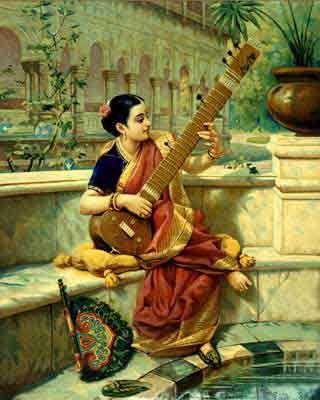 """Portrait of a lady playing sitar"" by Raja Ravi Varma (1848–1906)"