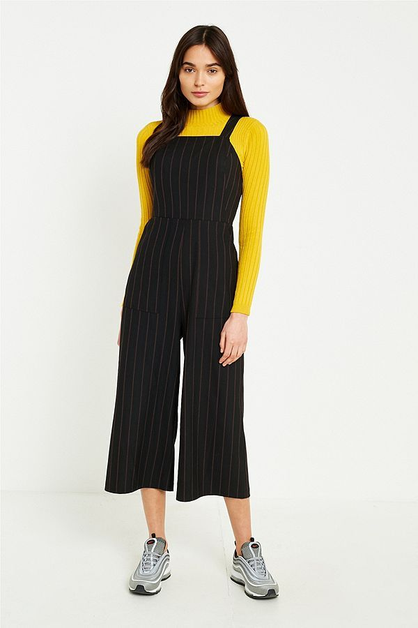 14b5c2bdba73 Slide View  1  UO Pinstripe Straight Neck Culotte Jumpsuit