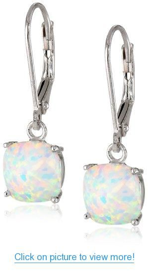 Sterling Silver Checkerboard Cushion Created Opal Leverback Dangle Earrings