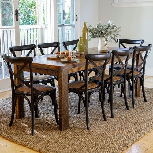 Wood Design 2000 Dining Package with French Cross Chairs (Table: 2000W x 800D x 760H mm. Chair: 460W x 420D x 870H mm) RRP $1,870