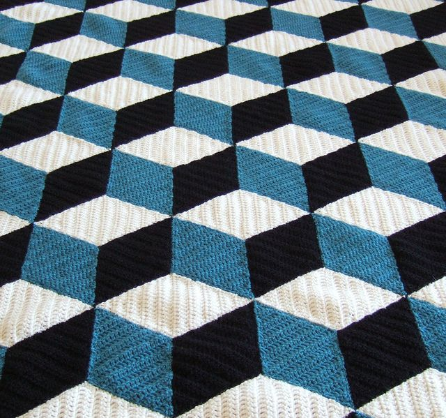 Isometric crochet afghan. Alex wants this for his bed.