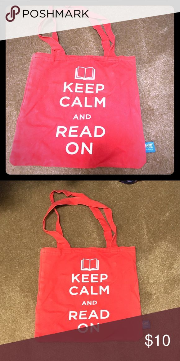 """Books-A-Million red shoulder bag """"Keep calm and read on"""" red faded book bag. Great for quick trips or a day at the beach to carry books and other small items! books a million Bags Shoulder Bags"""