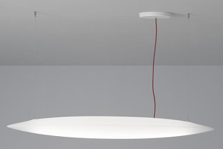 SHARPE PRO; Diffused light hanging fixture, made of epoxy-polyester powder coated aluminium with a frosted polyethylene diffuser, equipped with a driver, available upon request in a DALI dimmabile switch-dim, and a red power cable. Equipped with a high efficiency 36W LED source with a luminous flux of 4400 lumen and a 48W LED source with a luminous flux of 6600 lumen • TPL LIGHTING • MERGING LIGHTING WITH DESIGN • TPLLIGHTING.COM • TORONTO, CANADA •