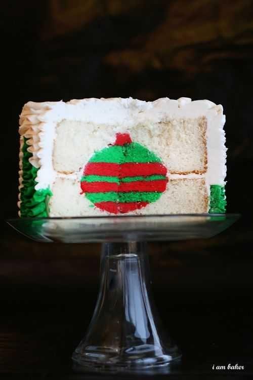inside the Christmas tree cake