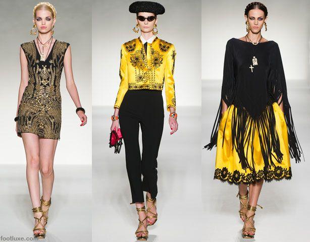 MFW the Moschino Spring Summer 2012 collection, Yellow and Black, Matador and Kahlo influences