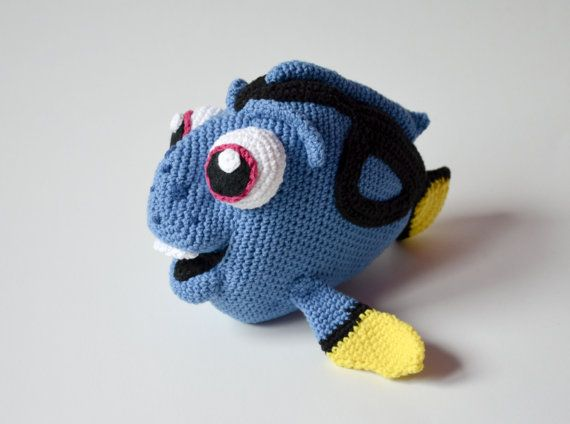 **Please note, this listing is for the PATTERN only, not the finished toy!**  Dory - adorable fish from Finding Nemo or Finding Dory Disney / Pixar animated movie.  Crochet fish, when finished, is 22 cm (8,6 inches) long, 17 cm (6,6 inches) wide.  This 18 page PDF tutorial contains many photos and detailed instructions on how to crochet the toy. It is written in English with standard crochet terms. It contains 1 page with abbreviations (you can always check the symbol).  This pattern is for…