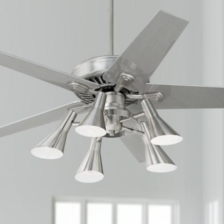 "52"" Windstar II Brushed Steel with Silver Ceiling Fan - #34053-66116-R1737 