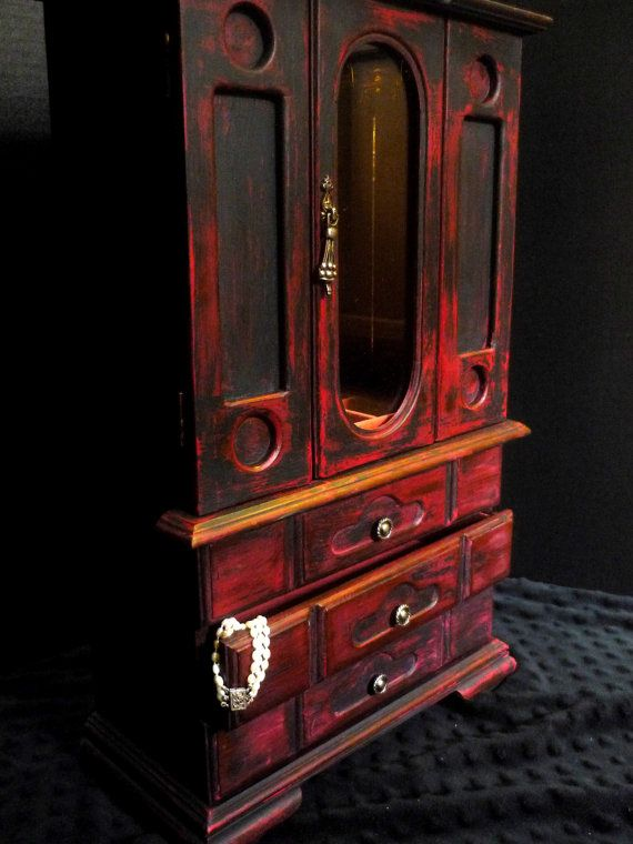 Shabby Chic Rustic Gothic Red U0026 Black Jewelry Box