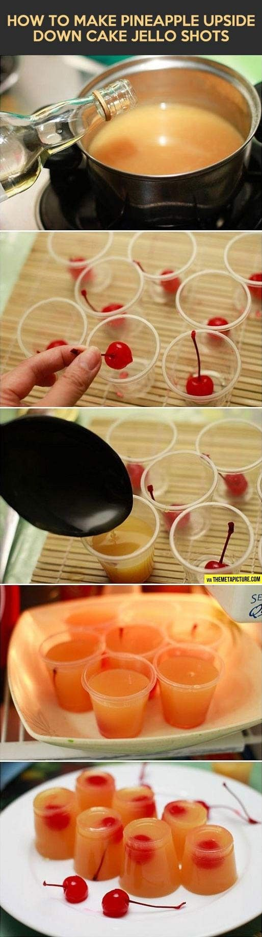 Pineapple upside down cake Jell-o shots- made whipped cream vodka.