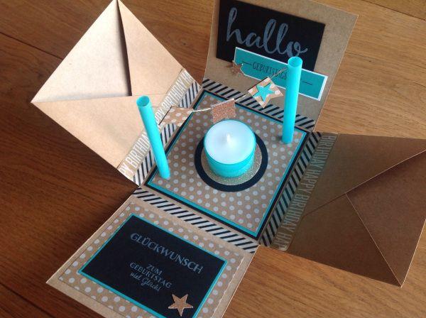 Explosionsbox, bermudablau, craft Farbkarton, Verpackung, Box, Stampin Up, lovelycrafts, Geburtstag