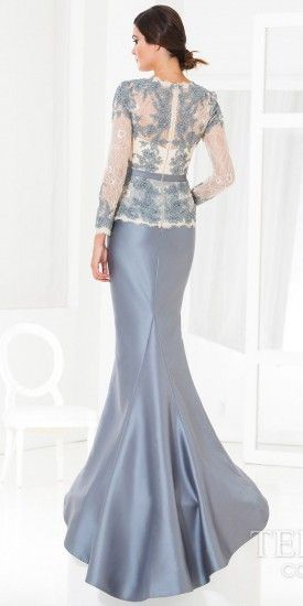 Raw Lace Scallop Evening Dress by Terani Couture