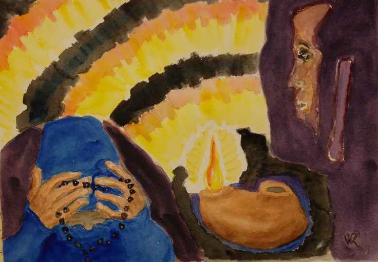 """This is  """"Oil Lamp Prayer,"""" watercolor  On 10""""x14"""" cp 140# paper, expressionist (c) 2016 Wes Rehberg"""