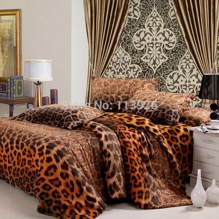 Fashion cotton sanded 100% four piece set leopard print bedding duvet cover active thickening fashion 100% cotton home textile #Affiliate