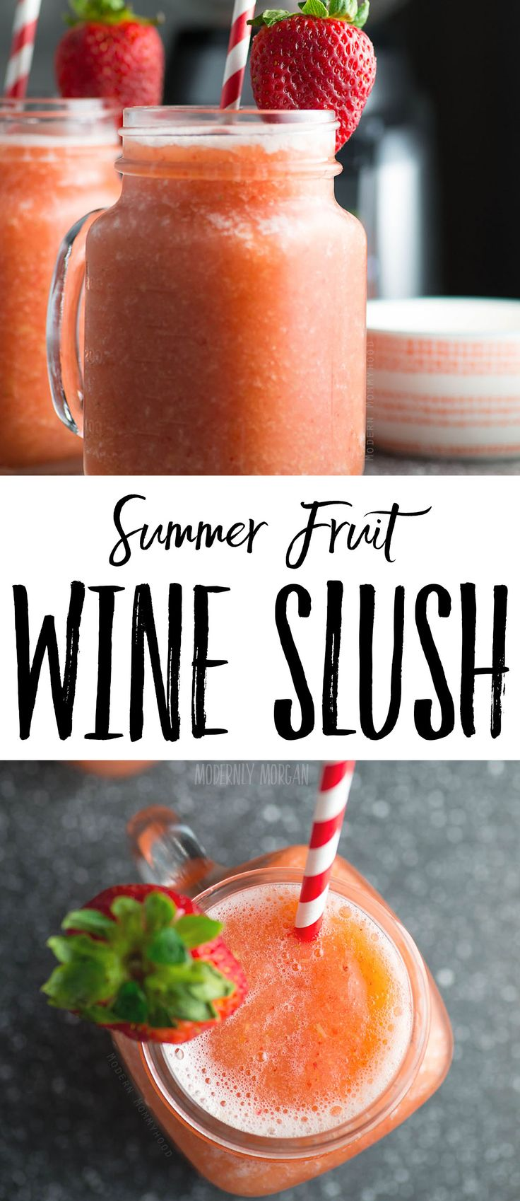 Summer Fruit Wine Slush Recipe - a frozen blend of peaches, strawberries, grapes and delicious white wine make an absolutely refreshing summer drink!