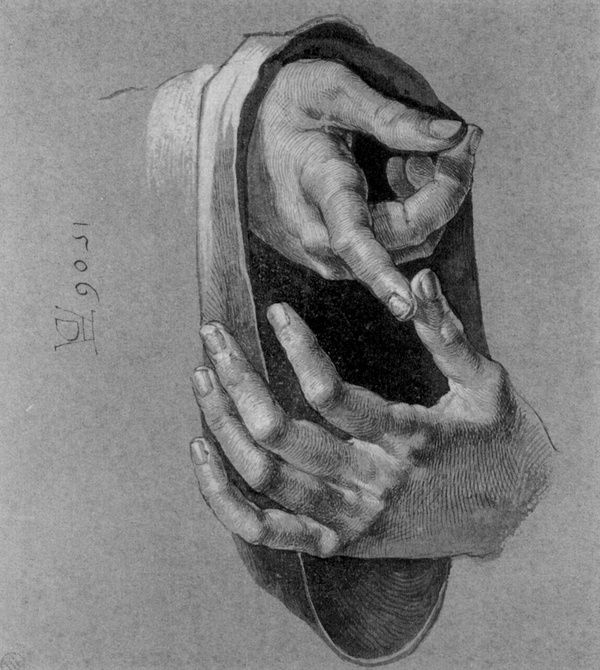 Dürer, Study of hands, 1506.
