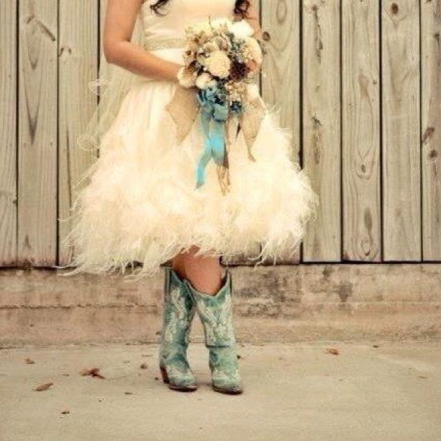 Short fluffy wedding dress with teal cowgirl boots!