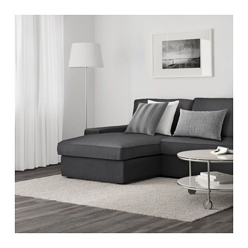 Kivik sof de 3 plazas y chaiselongue dansbo gris oscuro for Chaise longue salon