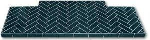 "Herringbone pattern in 6"" x 2"" Midnight Blue tiles"
