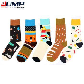 2015 вновь появившихся мужчины и женщины марка счастливые носки для красочные хлопок корея стиль дерево дом характер печать в трубке носки