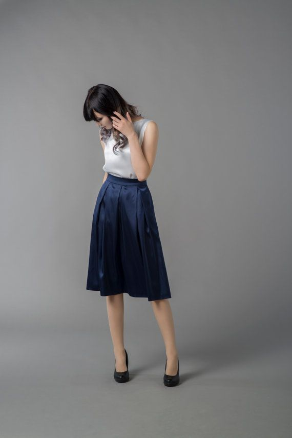Flow 2  satin skirt / navy blue skirt / midi by WardrobeByDulcinea