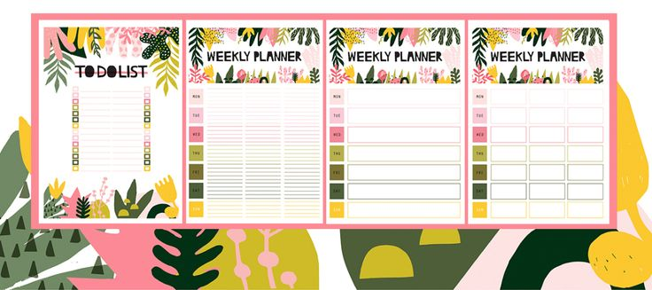 Flower abstract weekly planners