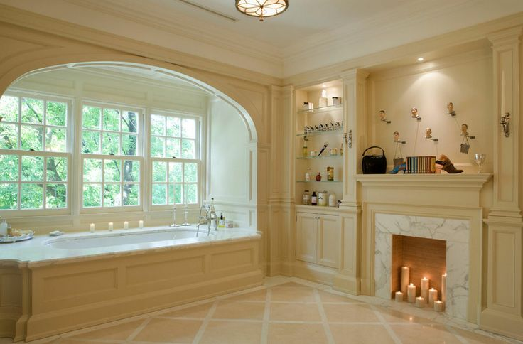 Master Bathroom With Built In Tub In Window Bay And