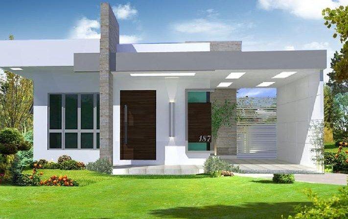 Plano de casa moderna de dos dormitorios en un piso