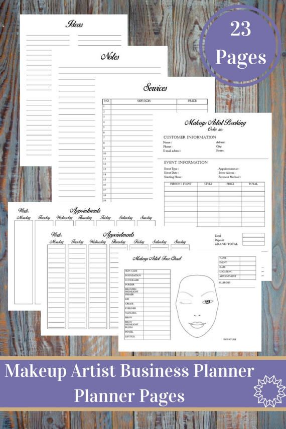 beginner makeup artist resume%0A Makeup Artist Business Planner and Manager  Financial and Management Forms   Trackers  Personal And