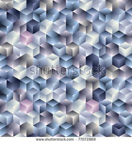 3d cubes geometric seamless pattern. Vector tiles background.