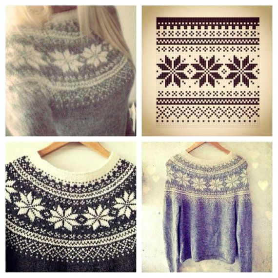 Beautiful Norwegian Sweater Pattern - Digital Download PDF - Feminine - Traditional