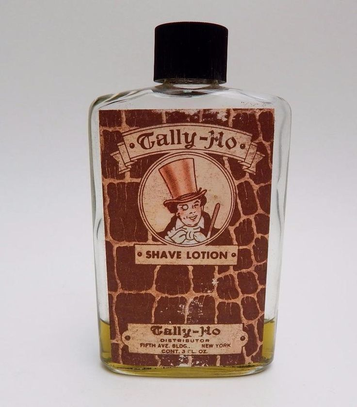 Vintage 1940's Tally Ho Shave Lotion Bottle with Paper Label #TallyHo