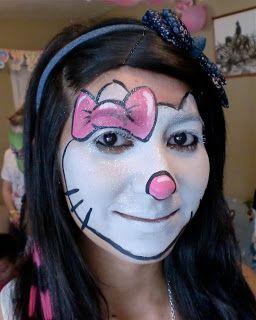Video Tutorial Esempi Corso Face Painting Trucco Bimbo Make up online Maschera Carnevale Halloween: Corso face painting video tutorial esempi come fare Hello Kitty
