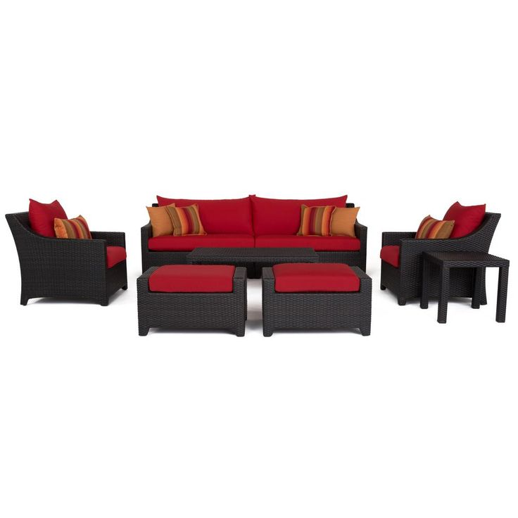RST Brands Deco 8-Piece All-Weather Wicker Patio Sofa and Club Chair Conversation Set with Sunset Red Cushions