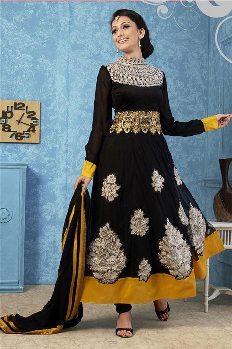 Black, Golden Net Designer Anarkali Suit